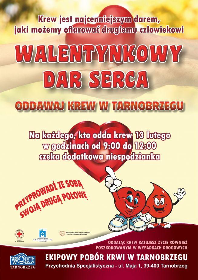 Plakat Krwiodawstwo Walentynki