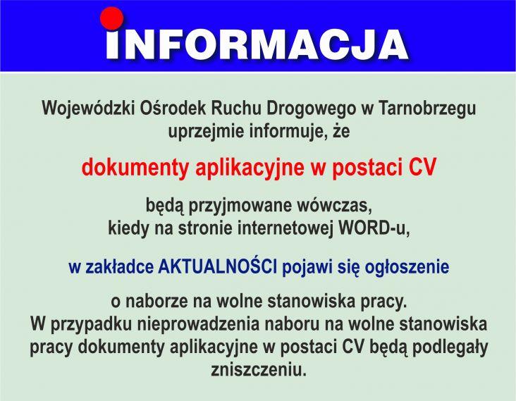 Informacja dokumenty aplikacyjne